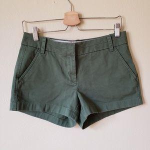 "J. Crew Olive Green Chino 3"" Inseam Shorts"